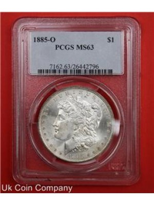 1885-o morgan silver dollar graded pcgs ms63 coin