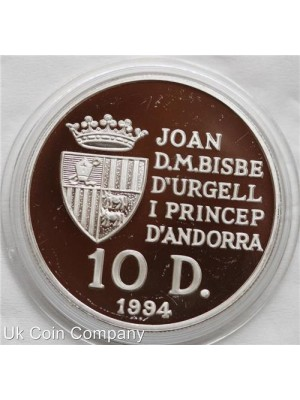 1994 andorra discovery of new world 1oz silver proof 10 diners coin