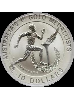 1994 australia 1st gold medalist frosted matte $10 ten dollar silver coin