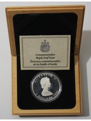 1989  royal canada mint maple leaf 1oz  silver proof  $5 five dollar coin box and cert , scarce coin
