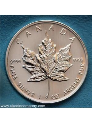 1998 Canada Maple Leaf 1oz Fine Silver Bullion Bu $5 Five Dollar Coin