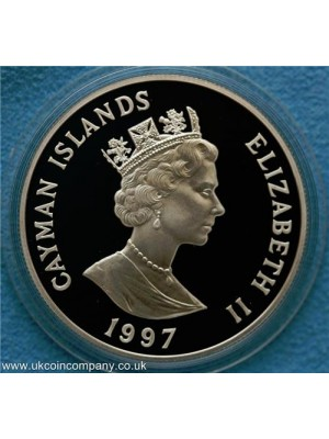 1997 cayman islands silver two dollar proof coin
