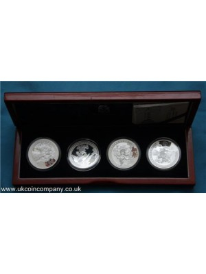 2008 China Beijing 2008 Olympics Silver Proof 4 Coin Set