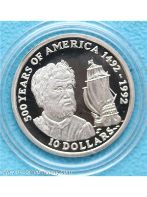 1990 Cook Islands 500 years of America $10 silver proof coin