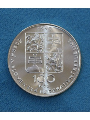 1992 Czechoslovakia Brilliant Uncirculated Silver 100 Korun Coin Nazi Massacres at Lidice and Lezaki