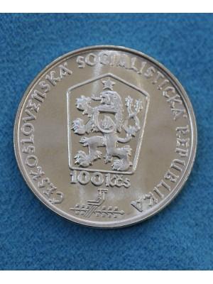1988 Czechoslovakia Silver Proof 100 Korun Coin Martin Benka