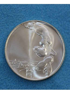 1991 Czechoslovakia Brilliant Uncirculated Silver 100 Korun Coin 100th Anniversary Birth of A Dvorak.