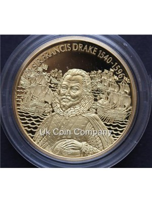2003 east caribbean states Francis Drake 24k gold plated piedfort $2 dollar coin