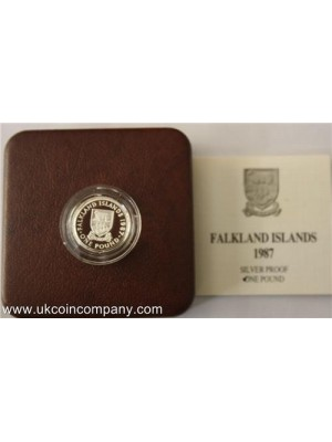 1987 Falkland Islands £1 Silver Proof Coin Rare Low Mintage