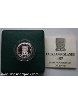 1987 Falkland Islands £1 Silver Proof Piedfort Coin Rare Low Mintage