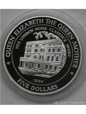 1994 Fiji Silver Proof Queen Elizabeth $5 Five Coin