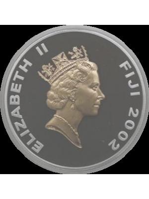 2002 Fiji Gold Silver Proof $10 Ten Dollar Coin