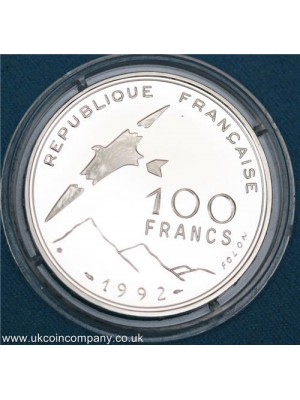 1992 france paralympics silver 100f francs proof coin scarce coin