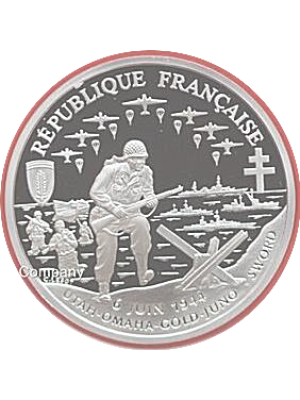 1993 Republique Francaise 50th Anniversary D Day 1 Franc Silver Proof Coin & Coa