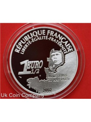 2002 France Lindbergh 75th Anniversarry Flight Atlantic 1.5 Euro Silver Proof Coin With Coa
