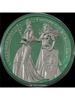 2019 Germania Britannia Allegories 1oz Silver Space Green 5 Mark Coin -  Mintage Of Only 250 Pieces