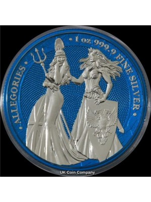 2019 Germania Britannia Allegories 1oz Silver Space Blue 5 Mark Coin -  Mintage Of Only 250 Pieces