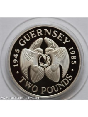 1985 Guernsey Liberation Silver Proof £2 Two Pounds Crown Coin