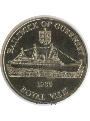 1989 Guernsey Royal Visit Bu £2 Coin Low Mintage