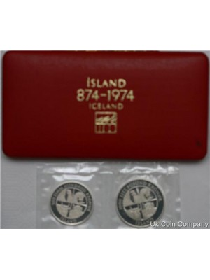 1974 Iceland Royal Mint 500 And 1000 Kronur Silver Proof Coin Set