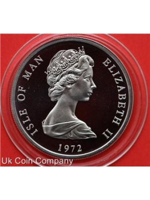 1972 Isle Of Man 25th Wedding Anniversary Silver Proof 25p Crown Coin