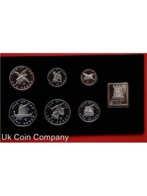 1979 Isle Of Man Silver Proof Millennium Of Tynwald 7 Coin Set Velvet Case Coa