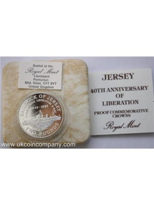 1985 Jersey Liberation Silver Proof £2 Pound Crown Coin Box & Cert Only 2,500 minted