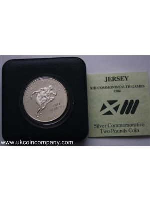 1986 Jersey Commonwealth Games Silver Proof £2 Pound Crown Coin Box & Cert