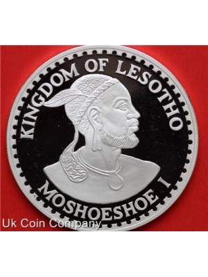 1980 Lesotho Moshoeshoe I Silver proof 50 Maloti coin presented in original velvet box with Certificate.