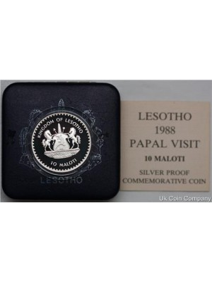 1988 Lesotho Pope John Paul II 10 Maloti Silver Proof Coin boxed certified