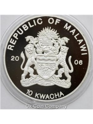 2006 Malawi Republic Silver Proof 10 Kwacha Crown Coin