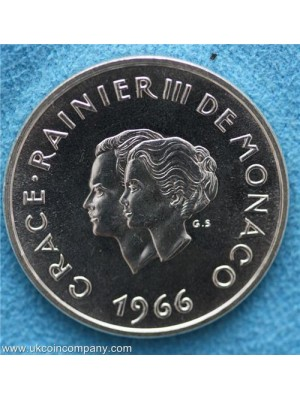 1966 Monaco Prince Rainier III and Grace Kelly silver proof 10 Franc Coin very rare coin