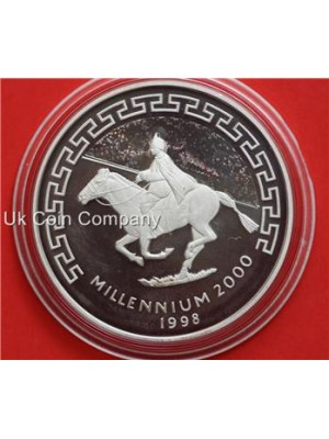 1998 Mongolia Millennium Silver Proof Hologram 500 Tugrik Crown Coin