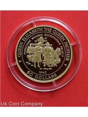 1998 Nauru Bombed Buckingham Palace 14 Carat Gold Proof $50 Fifty Dollar Coin