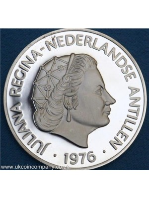 1976 netherlands antilles silver proof us bicentennial 25 gulden coin low mintage