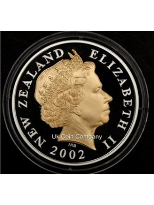 2002 new zealand gold silver proof $5 five dollars coin