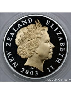2003 new zealand gold silver proof $5 five dollars coin