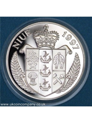 1997 niue blitz of london sterling 1oz silver proof $5 five dollars coin