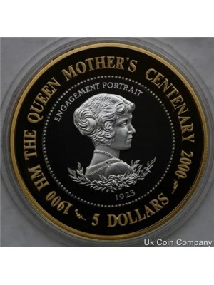 2000 niue queen mother sterling silver proof $5 five dollars coin