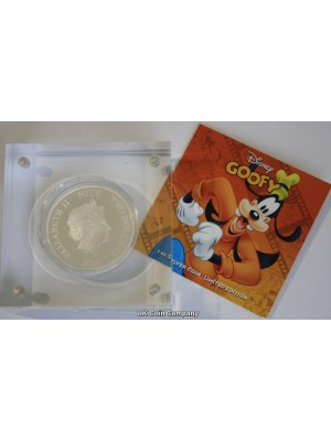 2014 Niue Disney Goofy $2 Two Dollar Fine Silver Proof Coin