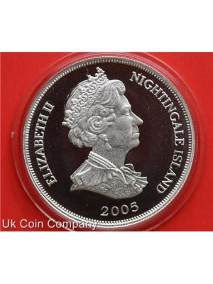 2005 Nightingale Islands Silver proof One Crown coin