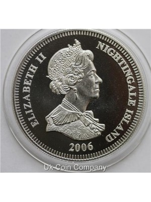 2006 Nightingale Island Silver Proof One Crown Coin - scarce coin