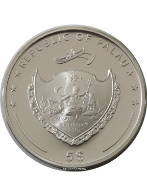 2007 Palau Pacific Wildlife Silver Proof $5 Five Dollar Coin