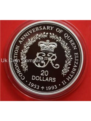 1993 NIUE QUEEN ELIZABETH II CORONATION ANNIVERSARY 1oz SILVER PROOF $20 CROWN COIN