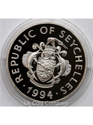 1994 Seychelles Queen II Royal Wedding Silver Proof 25 Rupee Coin