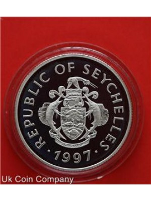 1997 Seychelles Queen II Royal Wedding Silver Proof 10 Rupee Coin