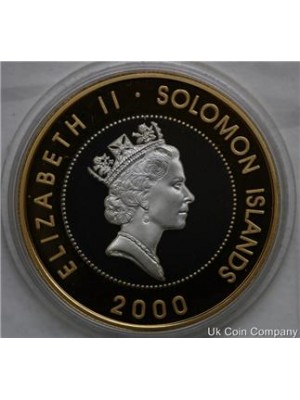 2000 Solomon Islands Silver Proof $10 Ten Dollar Coin Bombed Buckingham Palace