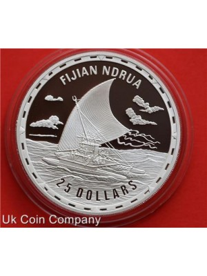 2007 Solomon Islands Legendary Fighting Ships Fijian Ndrua 1oz Silver $25 Coin