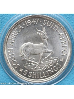1947 south africa george VI silver 5 shilling coin