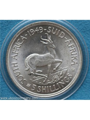 1949 south africa george VI silver 5 shilling coin